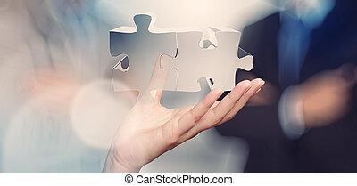 sinal, homem negócios, mostrando, mão, conceito, sociedade