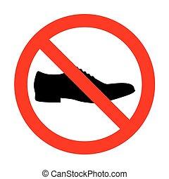 sinal, homens, sapatos, não