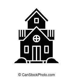 sinal., ilustração, único, conceito, glyph, família preta, apartamento, vetorial, ícone, símbolo, lar