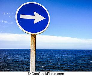 sinal, indicar, a, direção, de, ondas