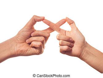 sinal, infinidade, por, dois, mãos humanas