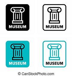 sinal, informação, museu, galeria, arte