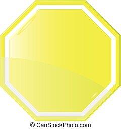 sinal, isolado, amarela, em branco