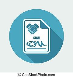 sinal, ligado, acordo, documento