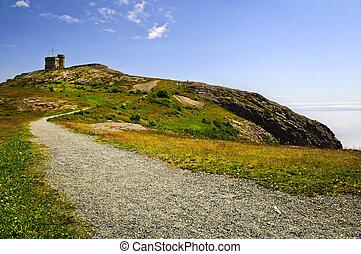 sinal, longo, cabot, colina, caminho, torre