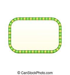 sinal, luminoso, rua, em branco, brilhar, bulbos, espaço, vindima, retro, retângulo, 3d, frame., coloridos, lights., text., bandeira, illustration., luz, signboard., retangular, vetorial, verde, anunciando