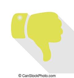 sinal mão, illustration., pêra, ícone, com, apartamento, estilo, sombra, path.