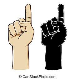 sinal mão, número, apontar, um