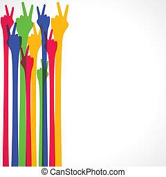 sinal mão, vitória, coloridos, mostrar