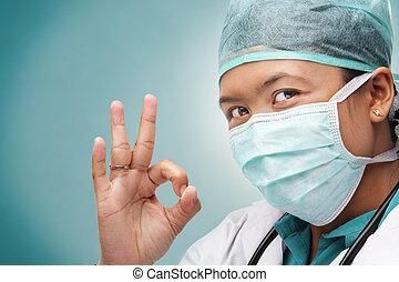 sinal médico, ok, médico feminino