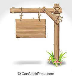 sinal madeira, tábua, penduradas, com, corda