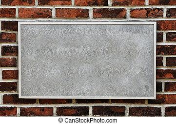 sinal metal, ligado, parede tijolo