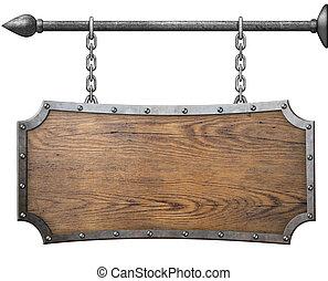 sinal, metal, madeira, isolado, corrente, penduradas