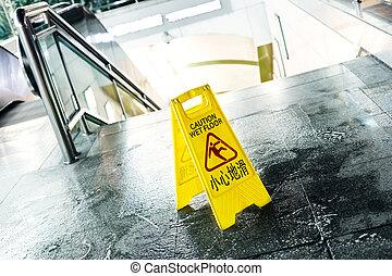sinal, mostrando, aviso, de, advirta chão molhado