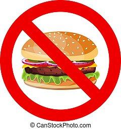 sinal., não, hamburger, permitido