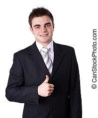 sinal, negócio, cima, feliz, jovem, retrato, homem, mostrando, polegares