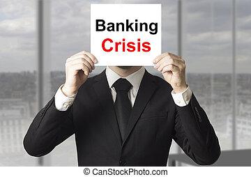 sinal, operação bancária, atrás de, homem negócios, rosto, crise, escondendo