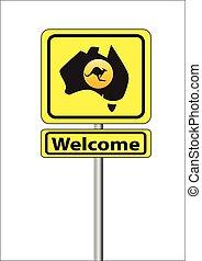 sinal, para, austrália, bem-vindo