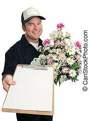 sinal, para, entrega flor
