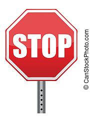 sinal, parada, estrada, ilustração, vermelho