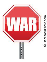 sinal, parada, guerra, ilustração, vermelho