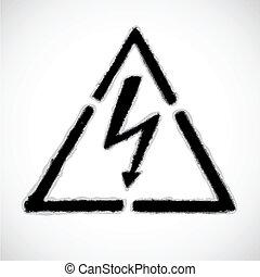 sinal perigo, alto, vetorial, voltagem, eps8, aviso