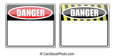 sinal perigo, em branco