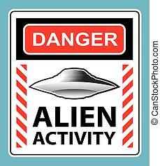 sinal, perigo, estrangeiro, aviso, atividade