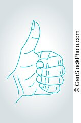 sinal, polegares cima, gesto, mão