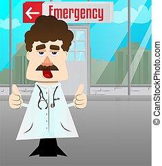 sinal, polegares, dois, hands., doutor, fazer