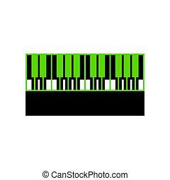 sinal., pretas, vector., teclado, verde, piano, 3d, lado, ícone