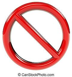 sinal, proibição, vermelho