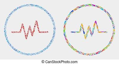 sinal, pulso, vetorial, triângulos, mosaico, ícone