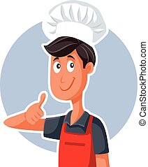 sinal, rapidamente, ok, alimento, polegares cima, cozinheiro