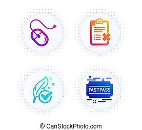 sinal., rato, testado, set., ícones, vetorial, hypoallergenic, fastpass, rejeite, computador, lista de verificação