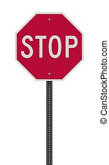 sinal, realístico, parada, estrada