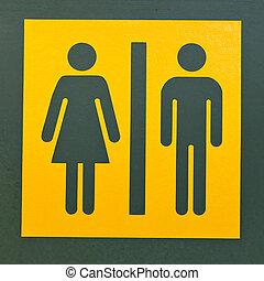 sinal restroom, símbolo, para, homens mulheres