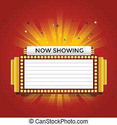 sinal, retro, cinema, mostrando, néon, agora