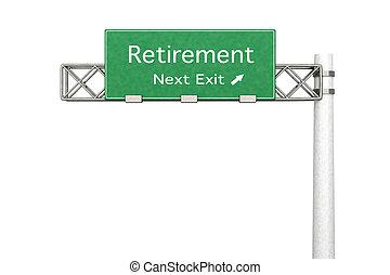 sinal rodovia, aposentadoria, -