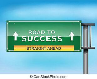 "sinal rodovia, com, ""road, para, success"", texto"