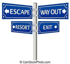 sinal, rua, saída, maneira, fuga, saída