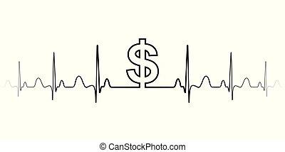 sinal, símbolo, fluctuations, em, a, taxa de câmbio, dólar, vetorial, sinal dólar, e, ondas, a, batida coração, a, dólar, troca moeda corrente