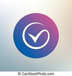 sinal, símbolo., marca, icon., carrapato, cheque