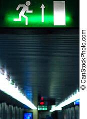 sinal saída, em, metro