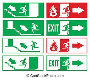 sinal, saída emergência