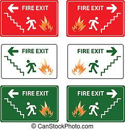 sinal saída, emergência, fogo