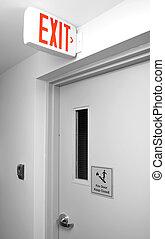 sinal saída, para, escadaria