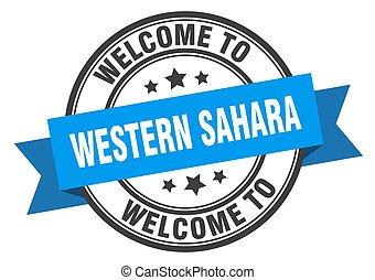 sinal, sahara, bem-vindo, stamp., ocidental, azul