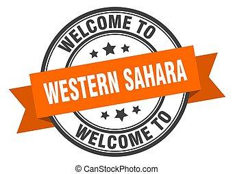 sinal, sahara, stamp., bem-vindo, ocidental, laranja