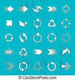 sinal seta, retro, cobrança, ícones